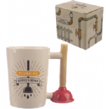 Toilet Plunger Shaped Handle Mug with Plumbing Decal